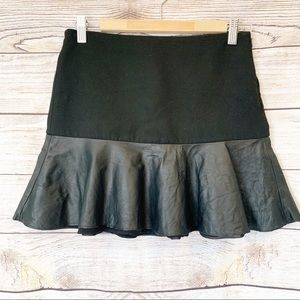 Zara Woman Black Leather Lined Flared Bottom Skirt